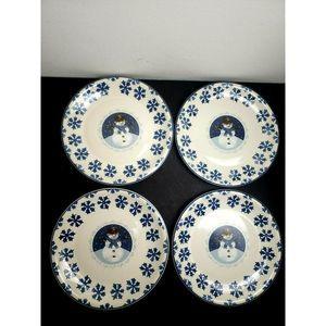 "Cameo Snowman 10"" Dinner Plate Set of 4"